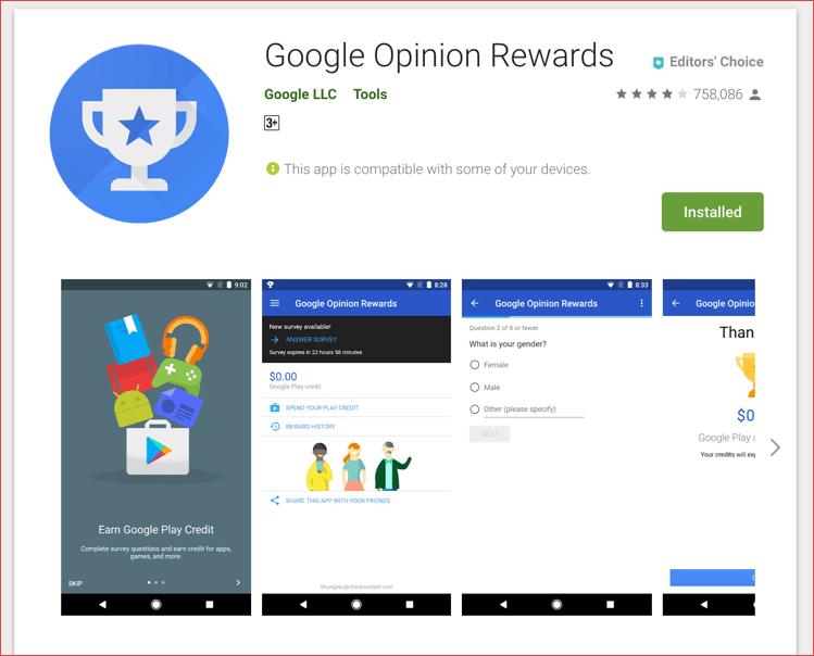 Google's Opinion Rewards techunz